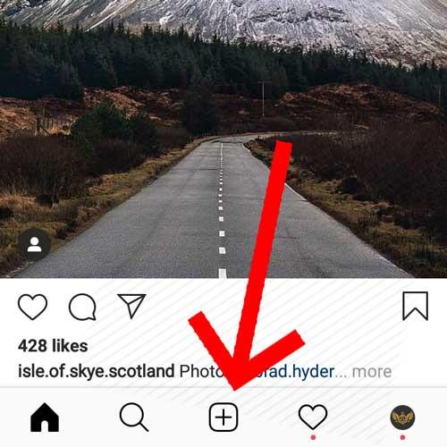 چگونه در اینستاگرام پست بگذاریم-سپس روی + بزنید
